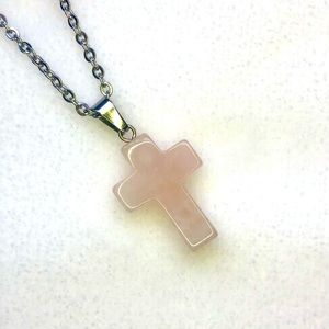 Rose Quartz Cross Stainless Steel Necklace NWT